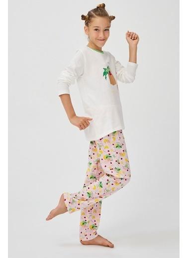 Penti Kız Çocuk Beyaz-Pembe Teen Shop Green 2'li Pijama Takım PN2CBW8820SK Beyaz